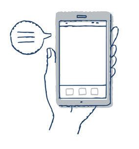 スマートフォンと手 テキストスペース ふきだしのイラスト素材 [FYI04765699]