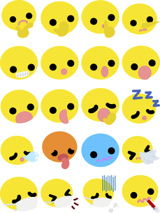 キュートな表情の黄色の顔文字アイコン ー驚きなどーのイラスト素材 [FYI04765783]