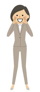 声を張るスーツの女性のイラスト素材 [FYI04765877]