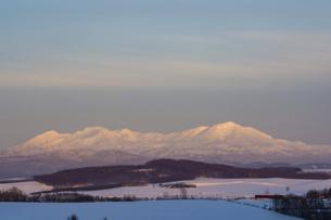 冬の丘陵地帯と夕映えの雪山の写真素材 [FYI04766042]