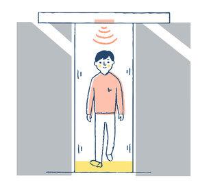 自動ドアを通る男性のイラスト素材 [FYI04766194]