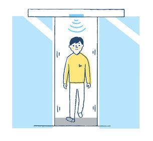 自動ドアを通る男性のイラスト素材 [FYI04766195]