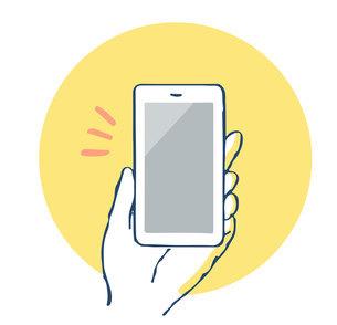 スマートフォンを持つ手のイラスト素材 [FYI04766198]