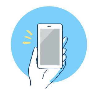 スマートフォンを持つ手のイラスト素材 [FYI04766199]