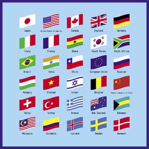 世界の主な国旗のセット 一覧表 イラストのイラスト素材 [FYI04766656]