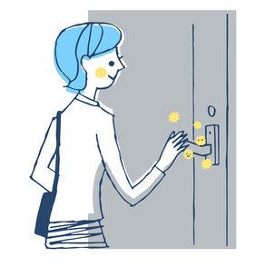 ウイルスが付いたドアノブを触る女性のイラスト素材 [FYI04766660]