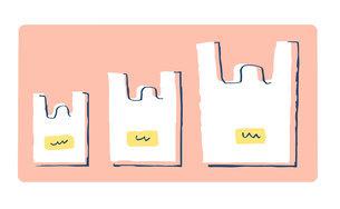 サイズの違うレジ袋のイラスト素材 [FYI04766661]