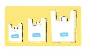 サイズの違うレジ袋のイラスト素材 [FYI04766662]