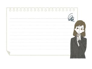 スーツの女性-ノート-もやもやのイラスト素材 [FYI04766763]