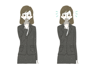 スーツの女性-驚き-困惑のイラスト素材 [FYI04766807]