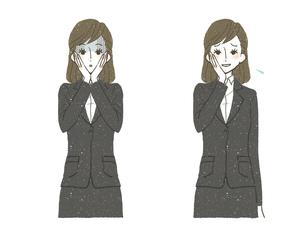 スーツの女性-ショック-困惑のイラスト素材 [FYI04766810]