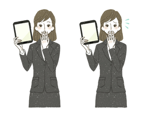 スーツの女性-タブレットPC-驚き-困惑のイラスト素材 [FYI04766832]