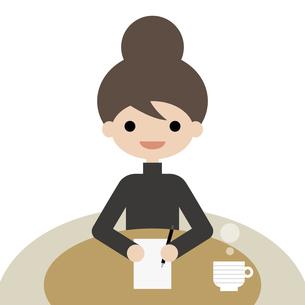 メモをするアップスタイルの女性 イラストのイラスト素材 [FYI04766885]