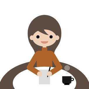 メモをするロングヘアの女性 イラストのイラスト素材 [FYI04766886]