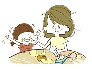 放心状態の母親とはしゃぐ娘のイラスト素材 [FYI04766921]