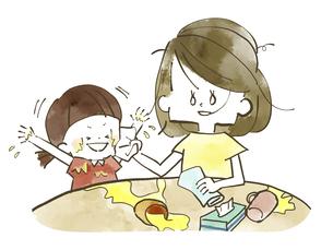 放心状態の母親とはしゃぐ娘-水彩のイラスト素材 [FYI04766922]