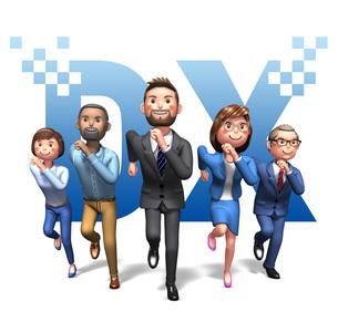 DXの文字をバックに成功に向かってダッシュするビジネスマン_3のイラスト素材 [FYI04767015]