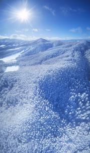 県道34号長野市境付近から望む霧氷と大松山などの山並みの写真素材 [FYI04767057]
