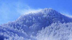 県道34号長野市境付近から望む保基谷岳前衛峰の霧氷の写真素材 [FYI04767075]