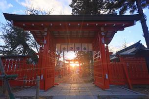 生島足島神社の西御門と冬至の夕日の写真素材 [FYI04767137]