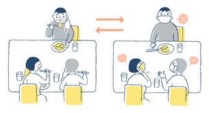 感染症予防対策 マスク会食をする3人のイラスト素材 [FYI04767397]