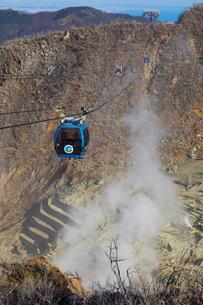 大涌谷の噴煙によって枯れた木と箱根ロープウェイの写真素材 [FYI04767495]