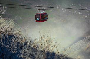 大涌谷の噴煙によって枯れた木と箱根ロープウェイの写真素材 [FYI04767504]