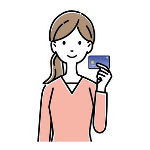 クレジットカードを持つ女性のイラスト素材 [FYI04767577]