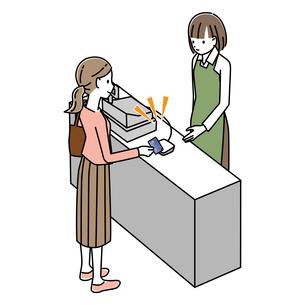 レジでクレジットカード払いをする女性のイラスト素材 [FYI04767578]