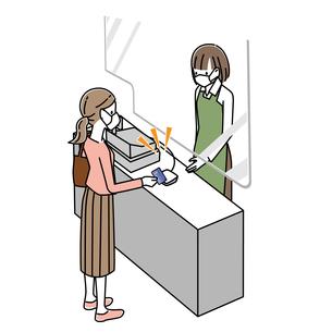感染症対策をしてレジでクレジットカード払いをする女性のイラスト素材 [FYI04767579]