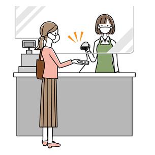 感染症対策をしてレジでQRコード決済をする女性 イラストのイラスト素材 [FYI04767581]