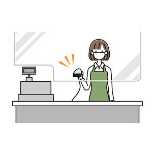 感染症対策をしている女性レジ店員がバーコードリーダーを持っているのイラスト素材 [FYI04767583]