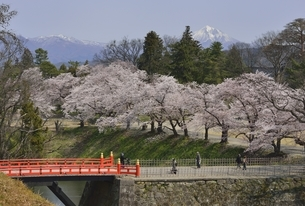 会津若松城(鶴ヶ城)廊下橋と磐梯山の写真素材 [FYI04767716]