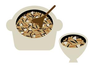 炊き込み御飯とお茶碗 イラストのイラスト素材 [FYI04767814]