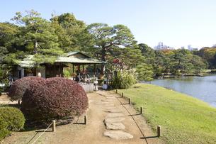 紅葉シーズンの六義園 吹上茶屋の写真素材 [FYI04767849]
