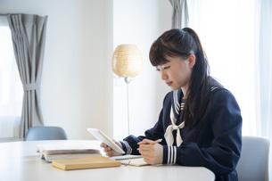 リビングでオンライン学習をする日本人女子の写真素材 [FYI04768062]