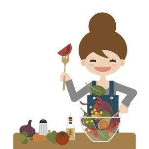 サラダを作る女性 イラストのイラスト素材 [FYI04768232]