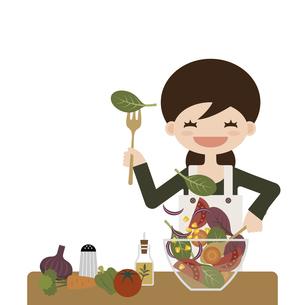 サラダを作るお母さん イラストのイラスト素材 [FYI04768233]