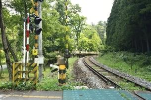 会津線 塔のへつり駅 踏み切りの写真素材 [FYI04768249]