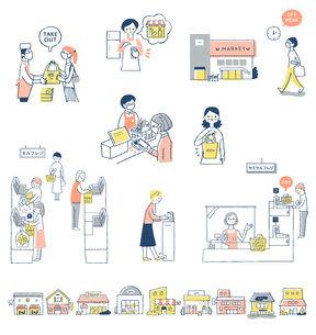 感染症予防対策 新しい生活様式(買い物) セットのイラスト素材 [FYI04768434]