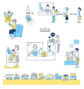 感染症予防対策 新しい生活様式(買い物) セットのイラスト素材 [FYI04768435]