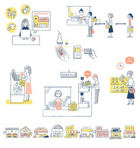 感染症予防対策 新しい生活様式(買い物) セットのイラスト素材 [FYI04768436]