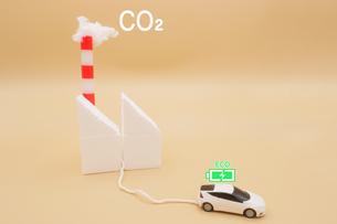 CO2を煙突から排出している火力発電所から充電する電気自動車のミニチュア の写真素材 [FYI04768599]
