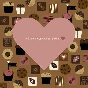 チョコレートのお菓子と大きなハートのイラスト素材 [FYI04768757]