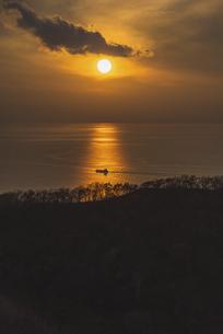 函館山からの夕日の写真素材 [FYI04768797]