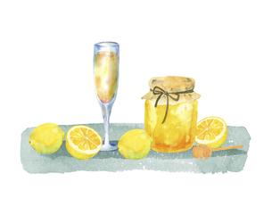 ハチミツとレモンとジュースの水彩イラストのイラスト素材 [FYI04769283]