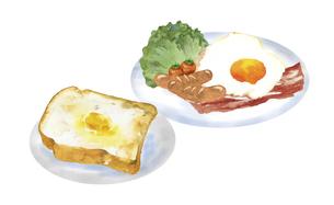 洋風の朝食セットの水彩イラストのイラスト素材 [FYI04769290]