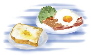 洋風の朝食セット 背景付きのイラスト素材 [FYI04769291]