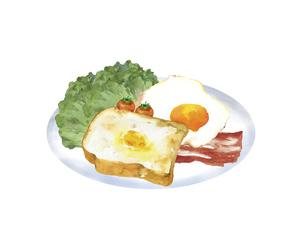 洋風の朝食プレートの水彩画のイラスト素材 [FYI04769292]