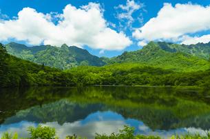新緑の山々が映る鏡池・長野県戸隠の写真素材 [FYI04769323]